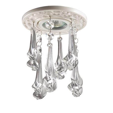 Встраиваемый светильник Novotech Pendant 369962, 1xGU5.3x50W, белый, прозрачный, металл, хрусталь