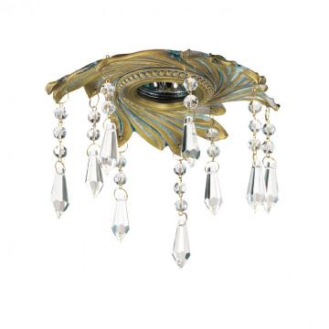 Встраиваемый светильник Novotech Grape 369969, 1xGU5.3x50W, бронза, бирюзовый, прозрачный, металл, хрусталь