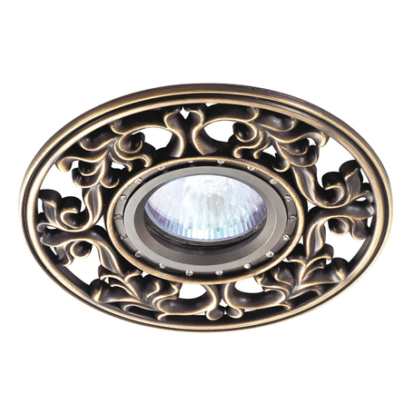 Встраиваемый светильник Novotech Vintage 369988, 1xGU5.3x50W, бронза, металл с хрусталем