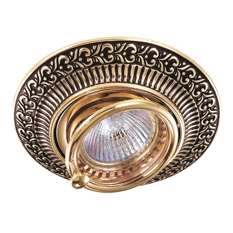 Встраиваемый светильник Novotech Vintage 370017, 1xGU5.3x50W, коричневый, золото, металл