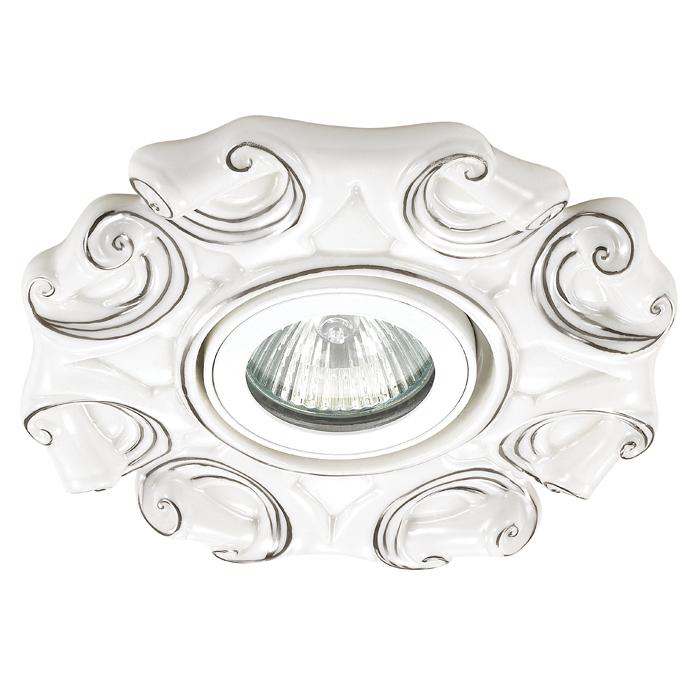 Встраиваемый светильник Novotech Spot Farfor 370041, 1xGU5.3x50W, белый, серебро, керамика - фото 1