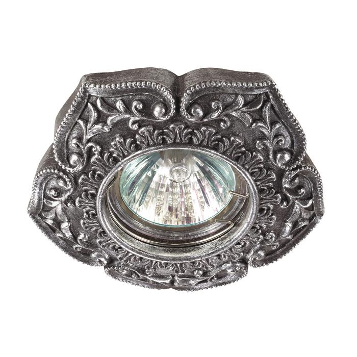 Встраиваемый светильник Novotech Pattern 370083, 1xGU5.3x50W, черненое серебро, песчаник - фото 1