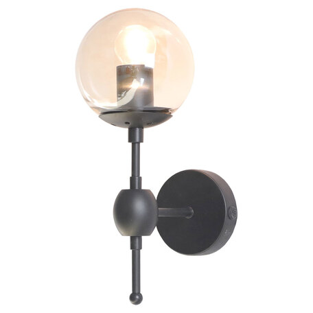 Бра Lussole Loft Hartwell LSP-8167, IP21, 1xE27x40W, черный, янтарь, металл, стекло
