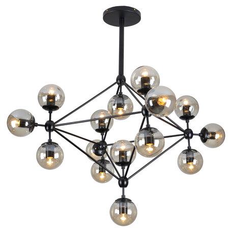 Потолочная люстра Lussole Loft Hartwell LSP-8165, IP21, 15xE27x40W, черный, янтарь, металл, стекло