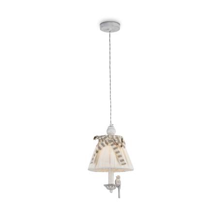 Подвесной светильник Maytoni Bird ARM013-PL-01-W, 1xE14x40W, белый, бежевый, серый, металл, пластик, текстиль