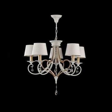 Потолочно-подвесная люстра Maytoni Enna ARM548-05-WG, 5xE14x40W, белый с золотой патиной, матовое золото, белый, коньячный, металл, пластик - миниатюра 4
