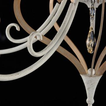 Потолочно-подвесная люстра Maytoni Enna ARM548-05-WG, 5xE14x40W, белый с золотой патиной, матовое золото, белый, коньячный, металл, пластик - миниатюра 8