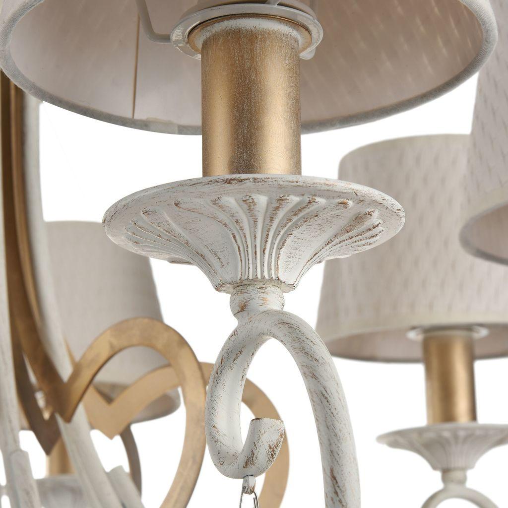 Потолочно-подвесная люстра Maytoni Enna ARM548-07-WG, 7xE14x40W, белый с золотой патиной, матовое золото, белый, коньячный, металл, пластик - фото 9