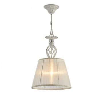 Подвесной светильник Maytoni Grace ARM247-PL-01-G, 1xE14x60W, белый с золотой патиной, прозрачный, белый, металл, текстиль