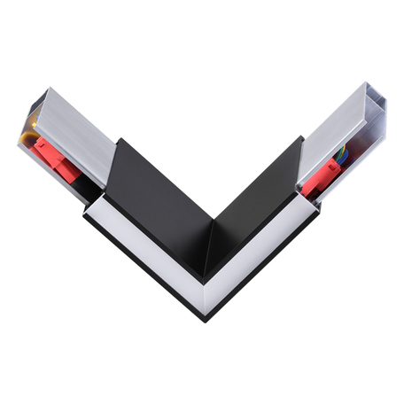 L-образный соединитель с LED-подсветкой для модульной системы Novotech Over Iter 135077, черный, металл