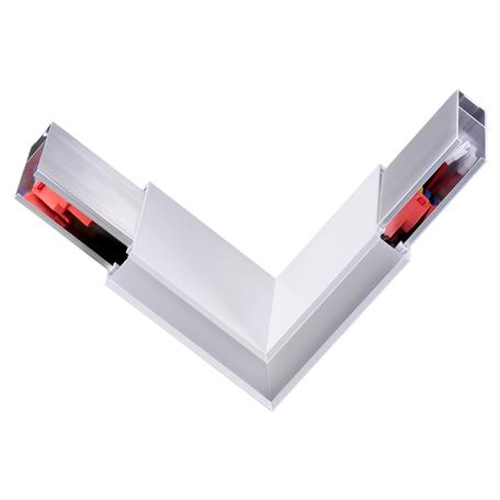 L-образный соединитель с LED-подсветкой для модульной системы Novotech Over Iter 135078, белый, металл