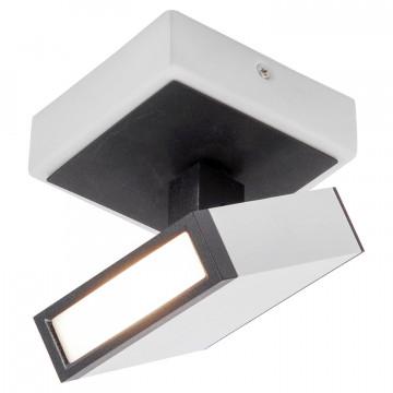 Потолочный светодиодный светильник с регулировкой направления света Lussole Loft Yakutat LSP-8012, IP21, LED 5W 4100K, белый, черно-белый, металл