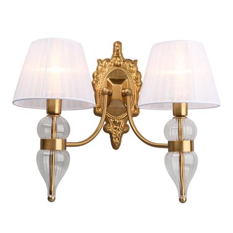 Светильник Omnilux Balestrate OML-56801-02, 2xE14x40W, матовое золото с прозрачным, белый, металл со стеклом, текстиль