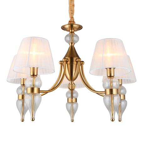 Светильник Omnilux Balestrate OML-56803-05, 5xE14x40W, матовое золото с прозрачным, белый, металл со стеклом, текстиль