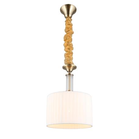 Светильник Omnilux Molveno OML-57606-01, 1xE14x40W, бронза с прозрачным, белый, металл со стеклом, текстиль