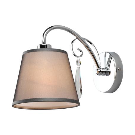 Светильник Omnilux Recco OML-66701-01, 1xE14x40W, хром, серый, прозрачный, металл, текстиль, хрусталь