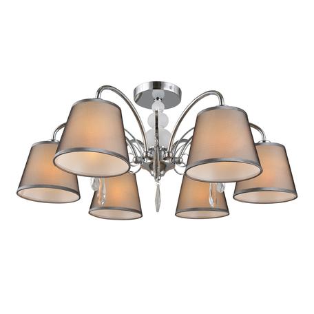 Светильник Omnilux Recco OML-66707-06, 6xE14x40W, хром, серый, прозрачный, металл, текстиль, хрусталь