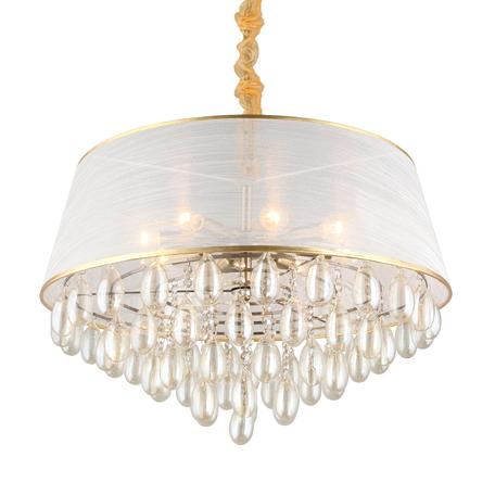 Светильник Omnilux Pineto OML-71803-08, 8xE14x40W, бронза, белый с золотом, прозрачный, металл, текстиль, стекло
