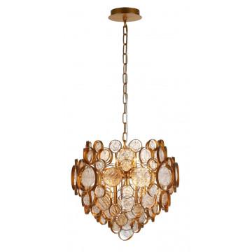 Подвесная люстра Crystal Lux DESEO SP6 D460 GOLD 1560/206, 6xG9x60W, матовое золото, янтарь, металл, стекло