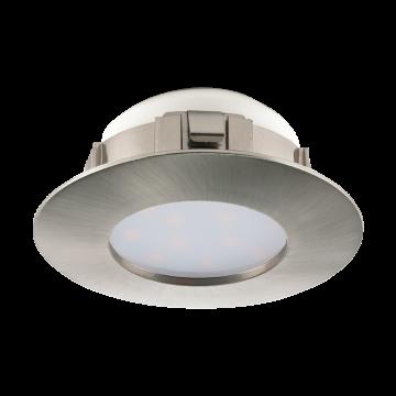 Встраиваемая светодиодная панель Eglo Pineda 95819, IP44, LED 6W 3000K 500lm, никель, пластик