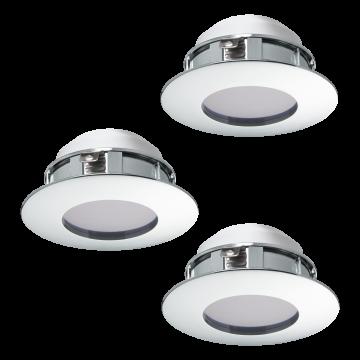 Встраиваемая светодиодная панель Eglo Pineda 95822, IP44, LED 6W 3000K 500lm, хром, пластик