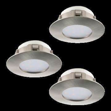 Встраиваемая светодиодная панель Eglo Pineda 95823, IP44, LED 6W 3000K 500lm, никель, пластик