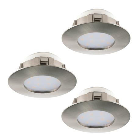 Встраиваемый светодиодный светильник Eglo Pineda 95823, IP44, LED 6W 3000K 500lm, никель, пластик