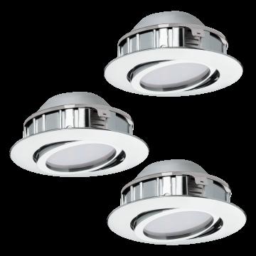 Встраиваемый светодиодный светильник Eglo Pineda 95852, LED 6W 3000K 500lm, хром, пластик