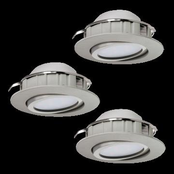 Встраиваемый светодиодный светильник Eglo Pineda 95853, LED 6W 3000K 500lm, никель, пластик