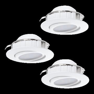 Встраиваемый светодиодный светильник Eglo Pineda 95857, LED 6W 3000K 500lm, белый, пластик