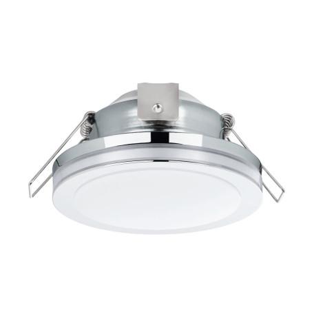 Встраиваемый светодиодный светильник Eglo Pineda 1 95962, IP44, LED 6W 3000K 500lm, хром, металл с пластиком, пластик