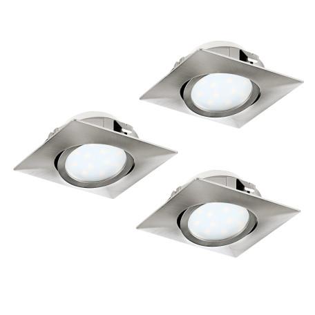 Встраиваемый светодиодный светильник Eglo Pineda 95846, LED 6W 3000K 500lm, никель, пластик