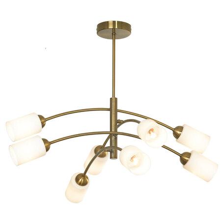 Светильник Lussole LGO Montana GRLSP-8207, IP21, 8xE14x6W, бронза, белый, металл, стекло