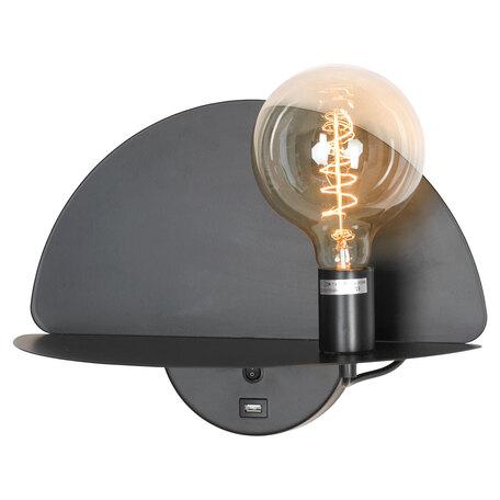 Светильник с полкой Lussole LGO Cozy GRLSP-8230, IP21, 1xE27x10W, черный, металл