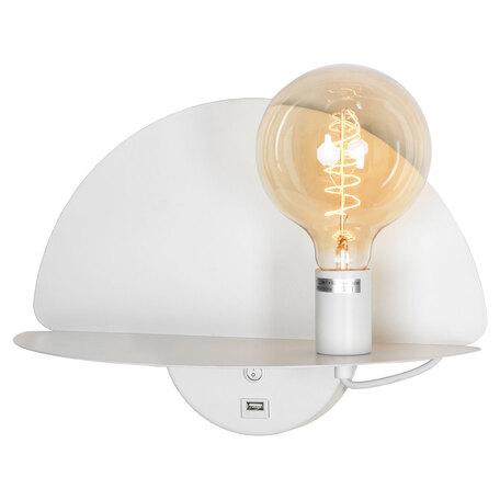 Светильник с полкой Lussole LGO Cozy GRLSP-8231, IP21, 1xE27x10W, белый, металл