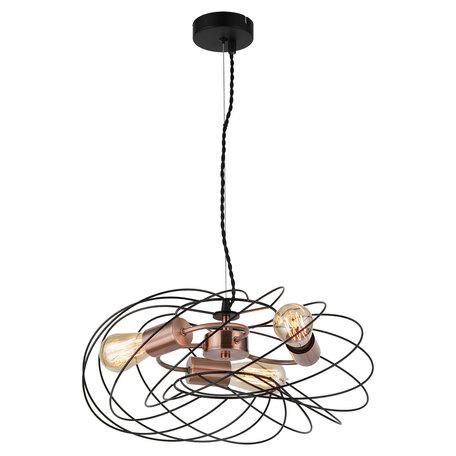 Светильник Lussole Loft Brooks GRLSP-8246, IP21, 3xE27x10W, медь с черным, черный, металл