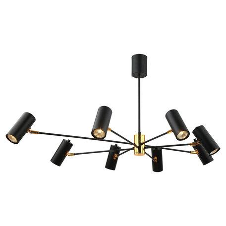 Светильник Lussole Loft Duncan GRLSP-8252, IP21, 8xGU10x5,5W, черный с золотом, черный, металл