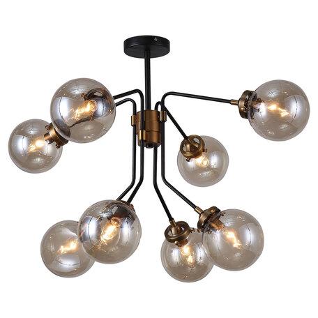 Светильник Lussole Loft Ontario GRLSP-8257, IP21, 8xE14x6W, черный с бронзой, дымчатый, металл, стекло