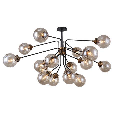 Светильник Lussole Loft Ontario GRLSP-8258, IP21, 16xE14x6W, черный с бронзой, дымчатый, металл, стекло