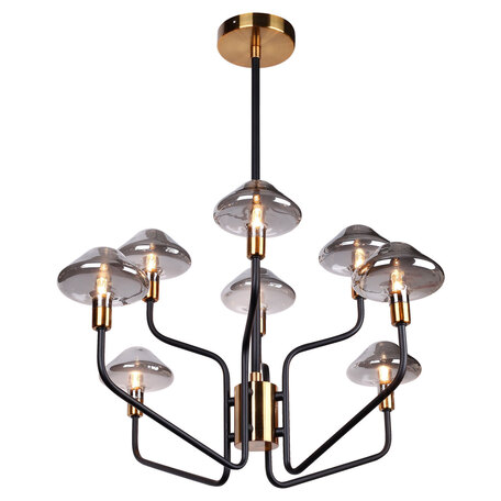 Светильник Lussole Loft Ontario GRLSP-8293, IP21, 8xG9x5W, черный с золотом, матовое золото с черным, дымчатый, металл, стекло