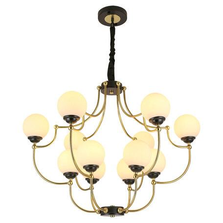 Светильник Lussole Loft Astoria GRLSP-8305, IP21, 12xE27x10W, черный с золотом, матовое золото с черным, белый, металл, стекло