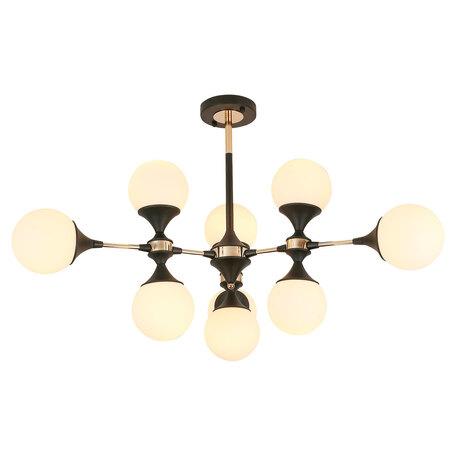 Светильник Lussole Loft Astoria GRLSP-8306, IP21, 9xE27x10W, черный с золотом, золото с черным, белый, металл, стекло