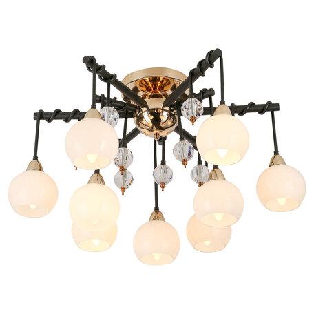 Светильник Lussole Loft Astoria GRLSP-8308, IP21, 9xE14x6W, черный с золотом, золото с черным, белый, прозрачный, металл, стекло