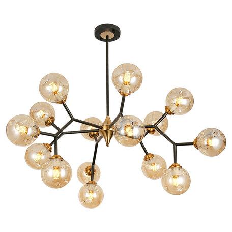 Светильник Lussole Loft Astoria GRLSP-8309, IP21, 15xE27x10W, черный с золотом, янтарь, металл, стекло