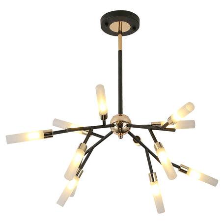 Светильник Lussole Loft Astoria GRLSP-8332, IP21, 12xG9x5W, черный с золотом, белый, металл, стекло