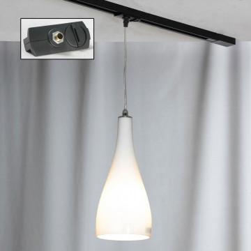 Подвесной светильник для шинной системы Lussole Loft Rimini LSF-1106-01-TAB, IP21, 1xE27x60W, хром, белый, металл, стекло