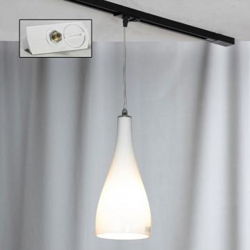 Подвесной светильник для шинной системы Lussole Loft Rimini LSF-1106-01-TAW, IP21, 1xE27x60W, хром, белый, металл, стекло