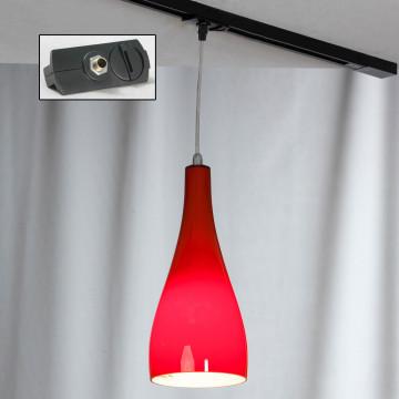 Подвесной светильник для шинной системы Lussole Loft Rimini LSF-1156-01-TAB, IP21, 1xE27x60W, хром, красный, металл, стекло