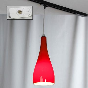 Подвесной светильник для шинной системы Lussole Loft Rimini LSF-1156-01-TAW, IP21, 1xE27x60W, хром, красный, металл, стекло