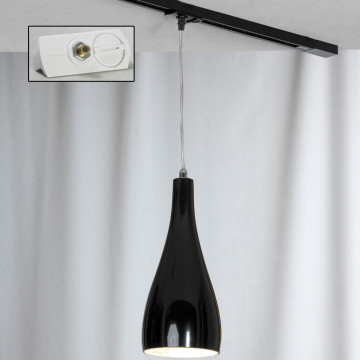 Подвесной светильник для шинной системы Lussole Loft Rimini LSF-1196-01-TAW, IP21, 1xE27x60W, хром, черный, металл, стекло